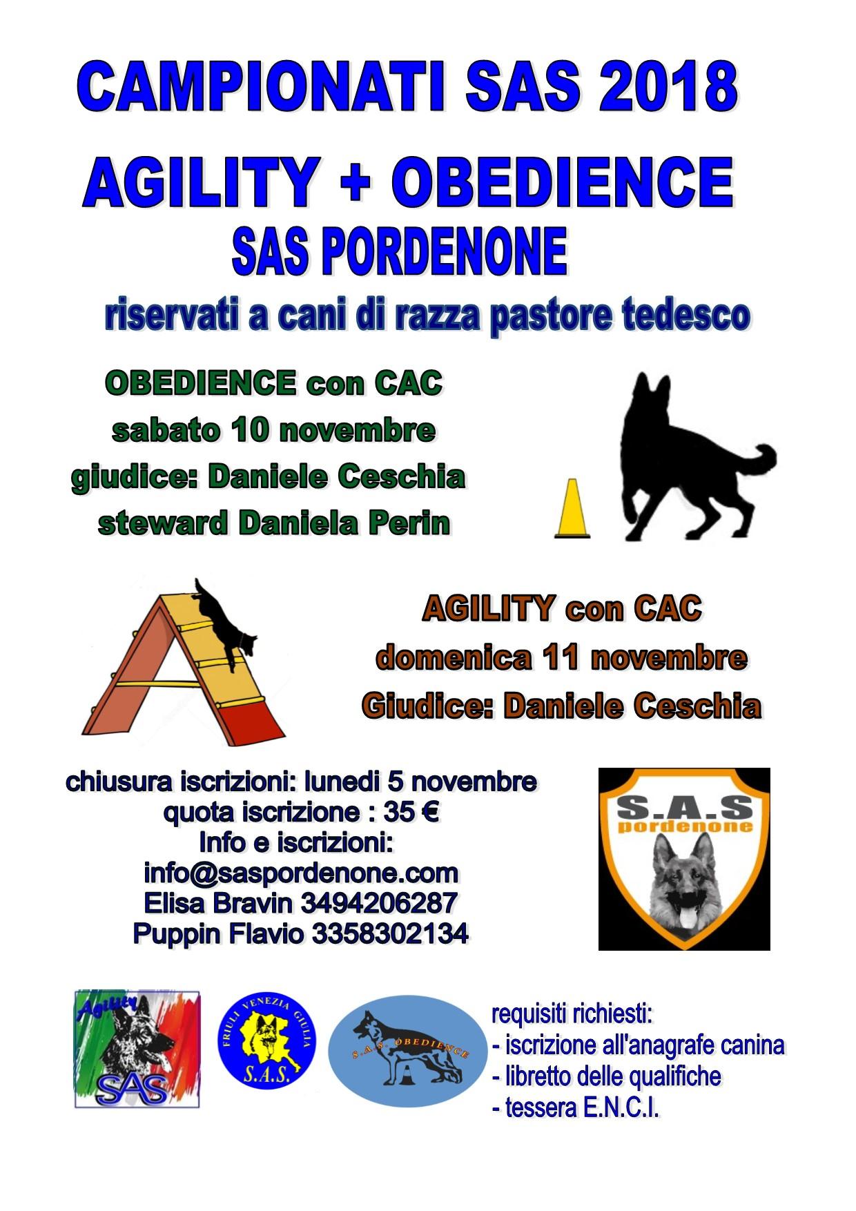 Campionato agility Obedience 2018